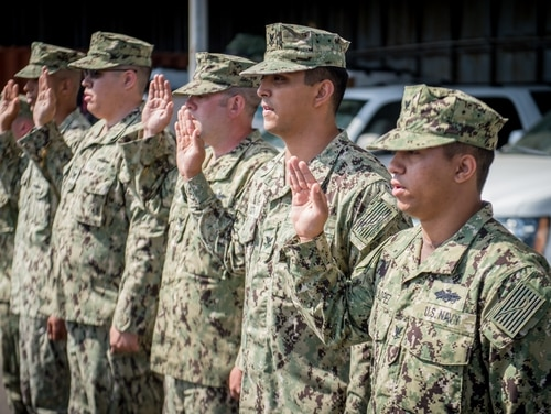 160501-N-NK714-037 San Diego, Calif. (May 1,2016) Sailors attached to Coastal Riverine Squadron Group One participate in a mass re-enlistment in preparation for an extended unit mobilization planned for early 2017. Coastal Riverine Squadron Group One provides port and harbor security, high value asset protection and maritime security operations in coastal and inland waterways. (U.S. Navy photo by Mass Communication Specialist 2nd Class (SW) Nolan O. Kahn/Released)