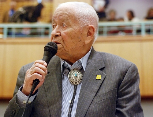 In this Feb. 2, 2018, file photo Democratic New Mexico state Sen. John Pinto talks about his career as a lawmaker on American Indian Day in the Legislature on in Santa Fe, N.M. (Morgan Lee/AP)