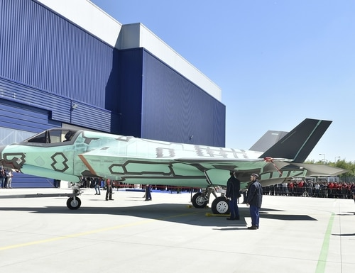 The first F-35B built at the Cameri, Italy, final assembly and checkout facility rolls out on May 5, 2016. (Lockheed Martin)