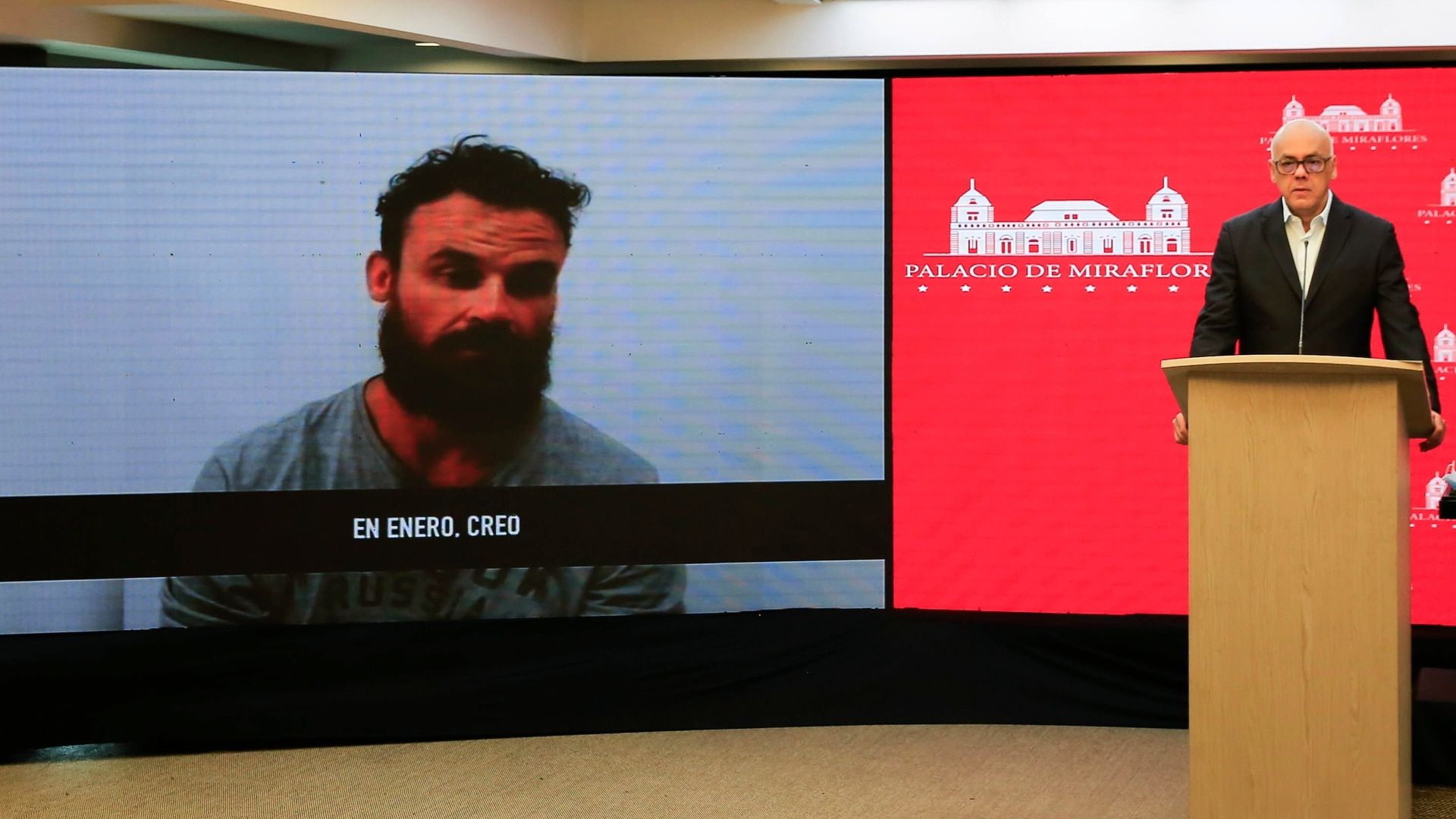 Venezuelan officials show a video of former Green Beret Airon Berry during a televised statement in Caracas, Venezuela, May 7, 2020. (Venezuela's Ministry of Communication via AP)