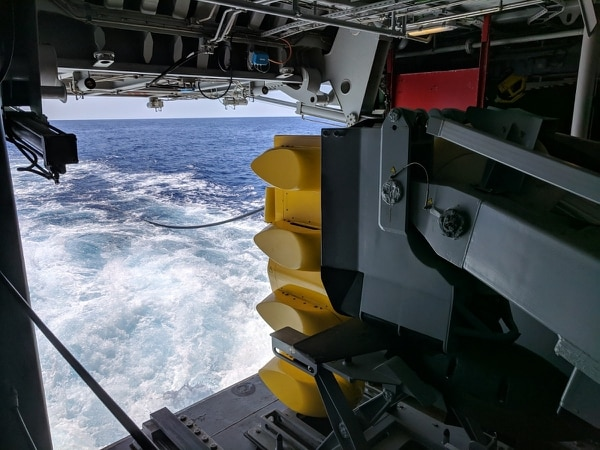 The Italian FREMM Alpino prepares to deploy its variable-depth sonar. (Staff photo by David B. Larter)