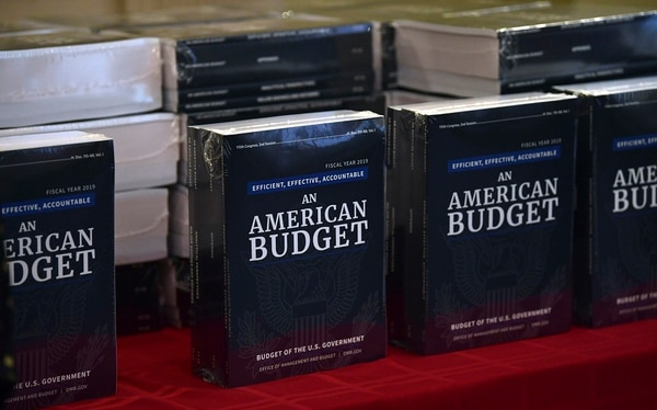 The White House's FY19 Budget is on display after arriving on Capitol Hill on Feb. 12, 2018. (Susan Walsh/AP)