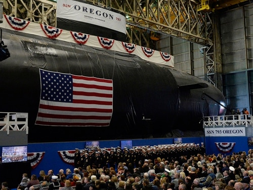 The Navy's newest attack submarine, the future Oregon, is christened in a ceremony at Electric Boat in Groton, Conn., on Saturday. (Dana Jensen/The Day via AP)