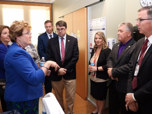 Robert Wilkie, center, then-acting Veterans Affairs Secretary, meets with members of the Rocky Mountain Regional VA Medical Center in Colorado on May 11, 2018. Wilkie was confirmed as the 10th VA secretary on Monday by the Senate. (Department of Veterans Affairs)