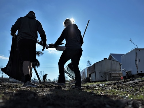 Volunteers from Tyndall and Eglin Air Force Bases came together Dec. 16 to help clean Mexico Beach, Fla., one of the communities hit the hardest by Hurricane Michael. (Tech. Sgt. Sara Keller/Air Force)