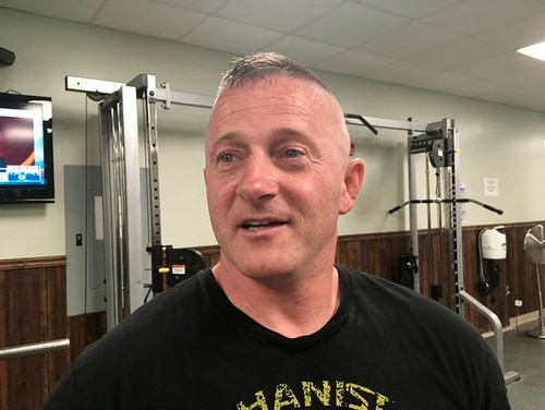 In this May 15, 2018, file photo, Richard Ojeda talks at a gym in Logan, W.Va. The retired Army paratrooper and West Virginia lawmaker who formalized his campaign for the presidency on Veterans Day 2018 is stepping down from the state Senate. (John Raby/AP)