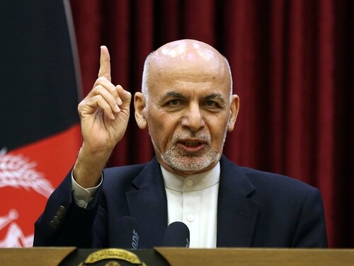 Afghan President Ashraf Ghani speaks during a news conference at the presidential palace in Kabul, Afghanistan, Sunday, March, 1, 2020. (Rahmat Gul/AP)