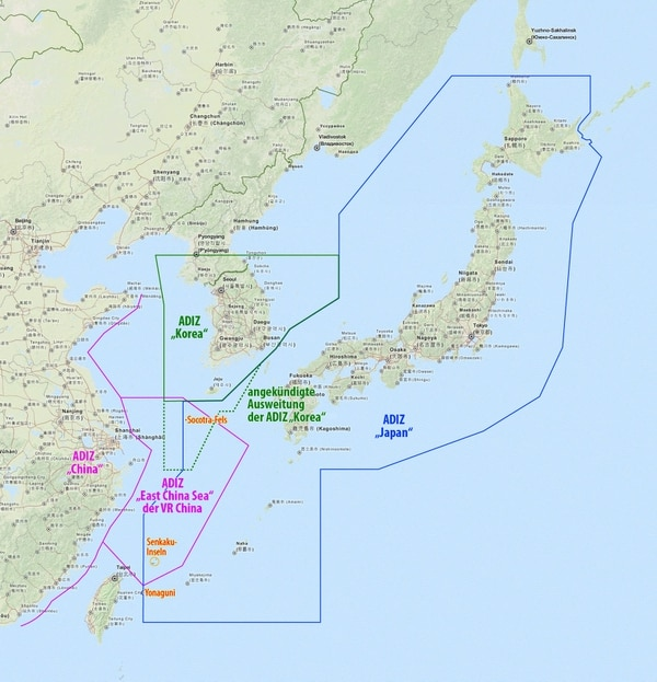 The East China Sea Air Defense Identification Zone as shown in pink boundaries. (Wikimedia Commons)