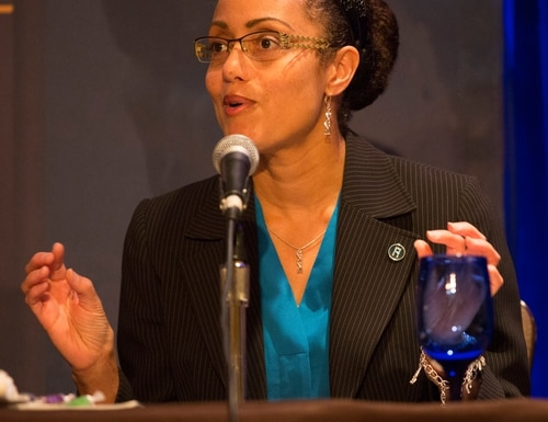 Stacey Dixon, deputy director of IARPA, speaks during a panel on innovation during the Defense News Conference in Pentagon City, Va., on Sept. 6, 2017. (Amber Corrin/Staff)