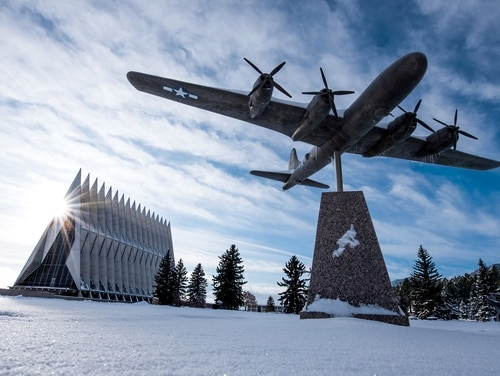 Sexual assault reports are up at the service academies. Pictured: The U.S. Air Force Academy's Cadet Chapel is seen in this Nov. 27, 2019, photo. (Trevor Cokley/Air Force)