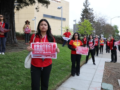 Members of National Nurses United protest between shifts at the Benioff Children's Hospital in Oakland, Calif., on March 23, 2020. A similar protest is scheduled for next week at the Veterans Affairs medical center in Brooklyn, to raise concerns about a lack of resources for staff to deal with the ongoing coronavirus pandemic. (Courtesy of NNU)