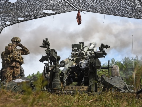 U.S. soldiers fire an M777 howitzer during a live-fire exercise as part of Saber Junction 18 in Germany, on Sept. 10, 2018. (Markus Rauchenberger/U.S. Army)