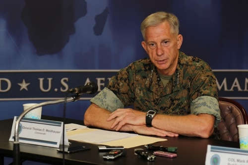 U.S. Marine Corps Gen. Thomas D. Waldhauser, commander, U.S. Africa Command, speaks with media representatives and staff during an East Africa Media Delegation on Aug. 31, 2017, in Stuttgart, Germany. (Nathan Herring/Army)