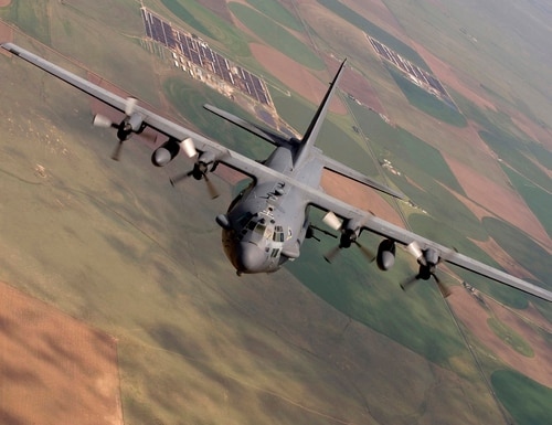 This photo provided by the U.S. Air Force, taken Aug. 11, 2010, shows an AC-130 Spectre from the 16th Special Operations Squadron flying a training mission at Cannon Air Force Base, N. M. The Army Green Berets who called in the deadly strike on the Doctors without Borders trauma center in Afghanistan were aware it was a functioning hospital but believed it was under Taliban control, raising questions about whether the air strike violated international law. (U.S. Air Force photo/Master Sgt. Jack Braden via AP)