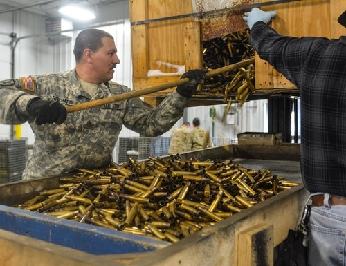 Members of U.S. Army Reserve Task Force Triad sort spent ammunition during Operation Cold Steel II at Fort McCoy, Wis., on April 16, 2018. A court ruling earlier this year could mean more time off or back pay for tens of thousands of reservists. (Spc. Devona Felgar/Army Reserve)