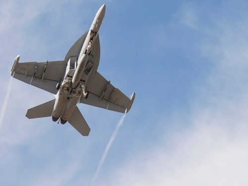 An EA-18G takes off from Whidbey Island Naval Air Station, Wash., on July 26, 2017 for training with the Air Force. (Air Force)