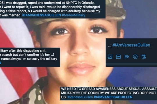 Hundreds of survivors have come forward to share stories of sexual trauma in the military after the alleged murder of Spc. Vanessa Guillen. (Army/Twitter composite)