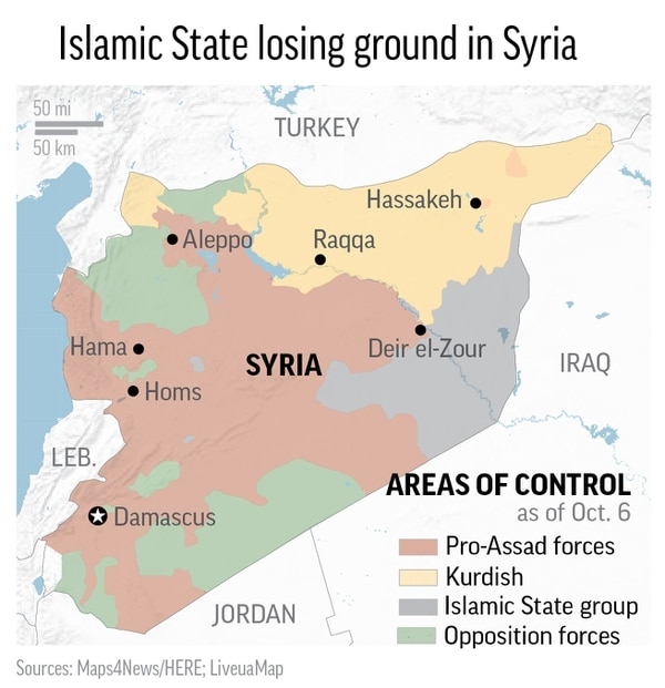 Corrects Iran to Iraq in graphic; map of Syria shows the latest areas of control by Pro-Assad, Kurdish, Islamic State and Free Syrian Army forces; 2c x 3 inches; 96.3 mm x 76 mm;