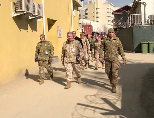Marine Gen. Frank McKenzie, center, top U.S. commander for the Middle East, makes an unannounced visit, Friday, Jan. 31, 2020 in Kabul, Afghanistan. (Lolita Baldor/AP)
