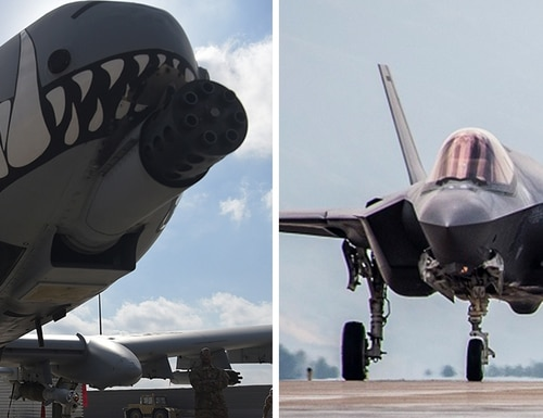 The A-10 Thunderbolt II (left) and the F-35 Lightning II fighter jet squared off in a series of unpublicized close-air support tests this week. (Air Force)