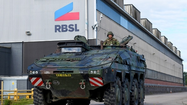A Boxer vehicle is pictured outside the RBSL production plant in Telford, England on July 1, 2019. (RBSL)