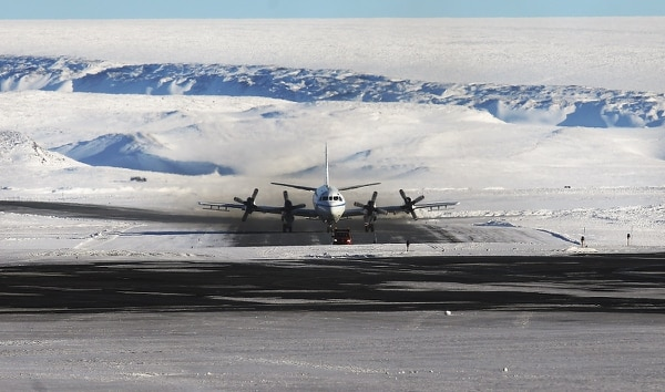 NASA's Operation IceBridge research aircraft taxis after landing at Thule Air Base on March 24, 2017, in Pituffik, Greenland. (Mario Tama/Getty Images)