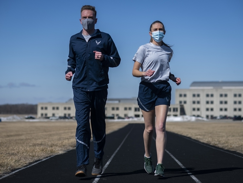 Over 150 airmen participated in testing the Air Force's updated PT uniform, its first update in more than 16 years. (Jim Varhegyi/Air Force)