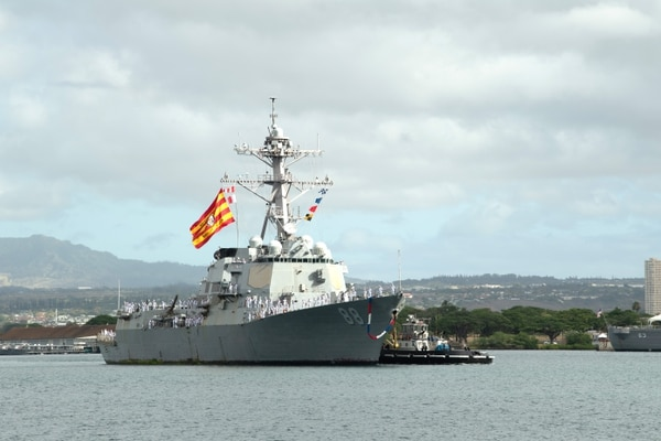 The Arleigh Burke-class guided-missile destroyer Preble returns to Joint Base Pearl Harbor-Hickam. The Navy is looking to backfit some of its destroyers with a scaled-back version of the Flight III's SPY-6 radar. (MCSN Jaimar Carson Bondurant/U.S. Navy)