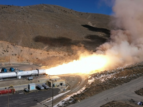 Northrop Grumman conducts a static test of its OmegA rocket in Utah Feb. 27. (Northrop Grumman image)