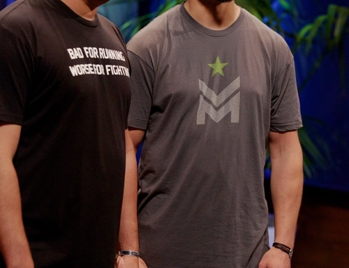 Former Rangers Donald Lee, left, and Matthew Griffin, co-owners of Combat Flips Flops snagged three of the Shark Tank investors in their recent pitch on the show. (Courtesy ABC/Shark Tank)