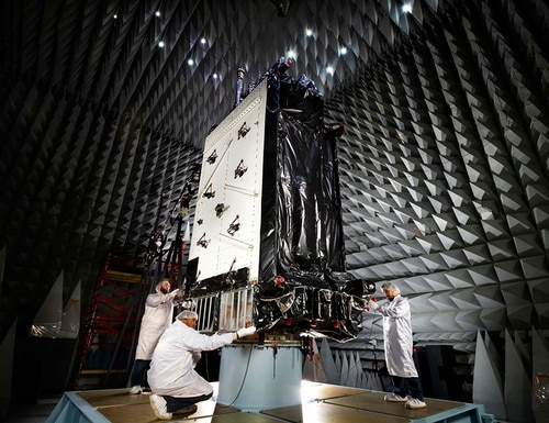 After years of delays, Raytheon says its next-generation GPS ground system is on schedule, and hardware will be installed starting this fall. A GPS III satellite is pictured above. (Pat Corkery/Lockheed Martin via AP)
