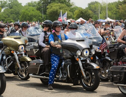 Riders pack the streets of Washington, D.C. during the annual Rolling Thunder ride on May 27, 2018. Plans to revive the event this year have been altered by the coronavirus pandemic. (Staff photo)