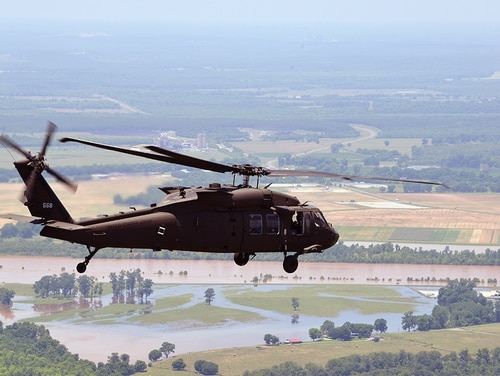 A Louisiana National Guard UH-60 Black Hawk is used to assess flooding on June 5, 2015. (1st Lt. Rebekah Malone/Army National Guard)