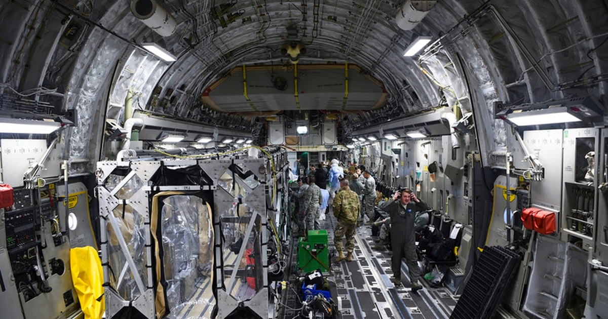 The Air Force is training medics how to carry COVID-19 patients aboard Air Force cargo aircraft