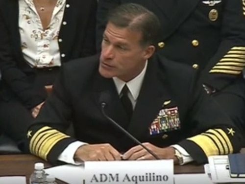 Navy Adm. John C. Aquilino, U.S. Pacific Fleet commander testified Tuesday before the House Armed Services Committee's Readiness Subcommittee. (Department of Defense)