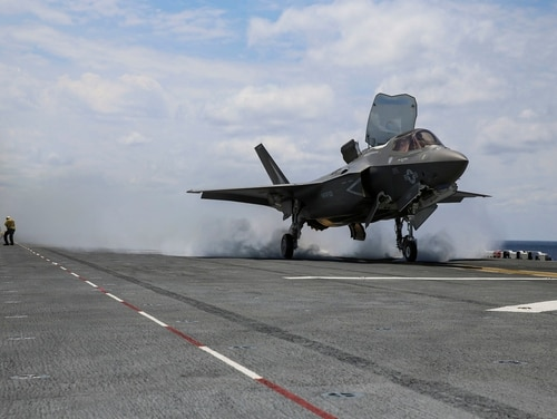 An F-35B Lightning II takes off on the flight deck of USS Wasp (LHD-1) during routine daylight operations, a part of Operational Testing 1, May 22. (Marine Corps photo by Cpl. Anne K. Henry/RELEASED)