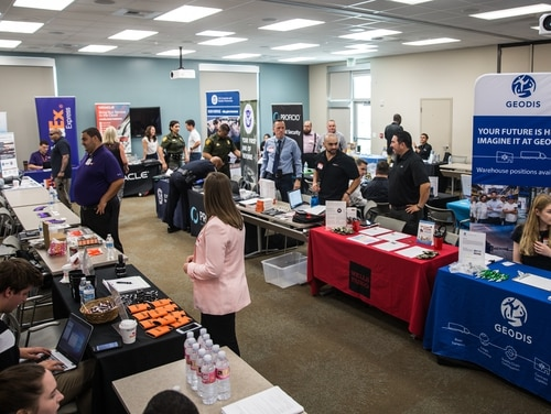 Civilian employers speak to servicemembers during a hiring event at Camp Pendleton in California on July 12, 2019. (Lance Cpl. Alison Dostie/Marine Corps)