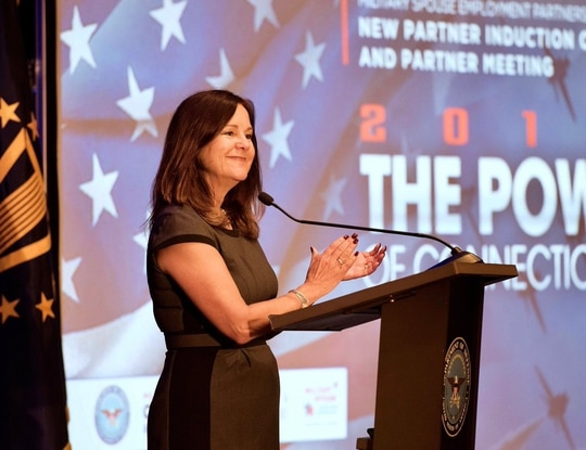 Second lady Karen Pence spoke during a virtual DoD ceremony bringing in 86 new employers into a partnership to recruit and hire military spouses. Here, she is pictured speaking at the in-person ceremony in 2019. (@DepSecDef via Twitter)