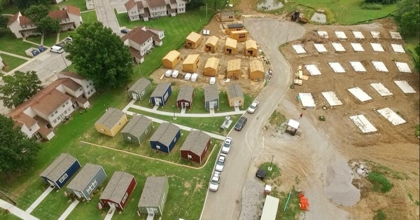 The nonprofit Veterans Community Project has built a Veterans Village of tiny houses for homeless veterans in Kansas City, Missouri, and is expanding to other cities (Veterans Community Project)