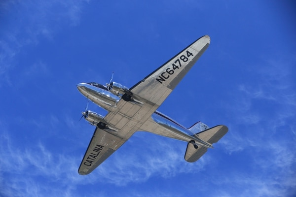 A Douglas DC-3 conducts a flyover during the grand reopening of the Airport in the Sky on Catalina Island on May 3. (Cpl. Jacob Pruitt/Marine Corps)