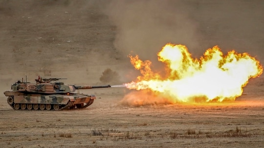 A M1A1 Abrams main battle tank fires during Exercise Chong Ju at the Puckapunyal Military Area on May 09, 2019 in Seymour, Australia. Exercise Chong Ju is an annual live fire training exercise and demonstration at the Australian Army's Combined Arms Training Centre showcasing Army as a versatile, decisive force. (Photo by Scott Barbour/Getty Images)