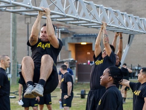 Paratroopers assigned to the 82nd Support Battalion, 3rd Brigade Combat Team, 82nd Airborne Division, conduct the Army Combat Fitness Test on Fort Bragg, North Carolina, in October. (Sgt. Cody Parsons/Army)