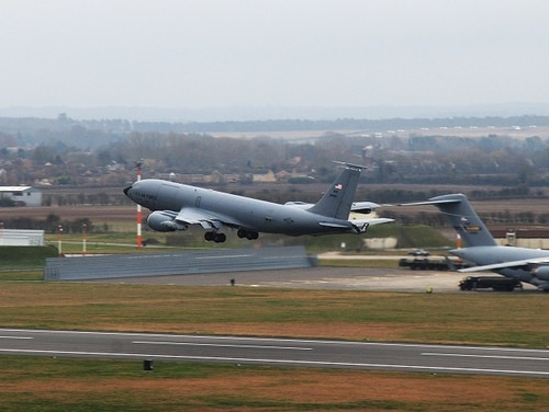 A KC-135 Stratotanker takes off at RAF Mildenhall in England in 2014. The base was locked down Dec. 18 after a security incident in which an intruder drove all the way to the runways; the suspect is now in custody. (SSgt. Rachel Waller/Air Force)