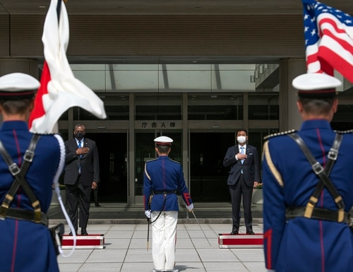 Secretary of Defense Lloyd Austin is welcomed in an honor cordon before a meeting with Japanese Defense Minister Nobuo Kishi at Japan's Ministry of Defense, Tokyo, March 16. (Lisa Ferdinando/DoD)