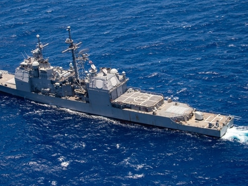 The guided-missile cruiser Lake Erie participates in a group sail during the Rim of the Pacific exercise off the coast of Hawaii on July 26. (MC1 Arthurgwain L. Marquez/Navy)