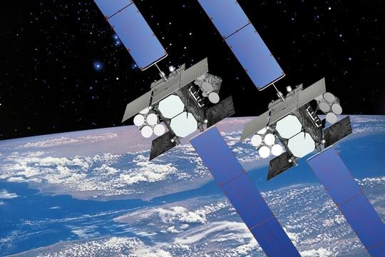 An artist's rendering of a Wideband Global SATCOM satellite. (U.S. Air Force)