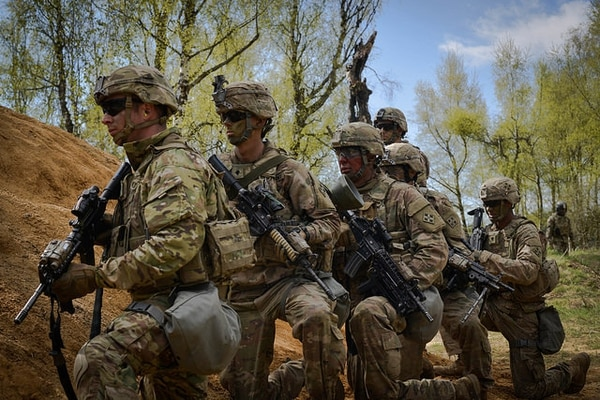 Soldiers from 3rd Armored Brigade Combat Team, 4th Infantry Division wait for orders to push forward toward the objective during Exercise Combined Resolve VIII at the Grafenwoehr Training Area, Grafenwoehr, Germany on April 24, 2017. The Army is working on a new rifle to replace its M4s. (Spc. Javon Spence/Army)