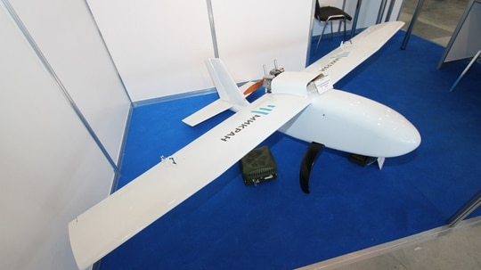 Made by Mikran, this is a machine designed to counter commercial quadcopters and operate without satellite navigation. (TASS)