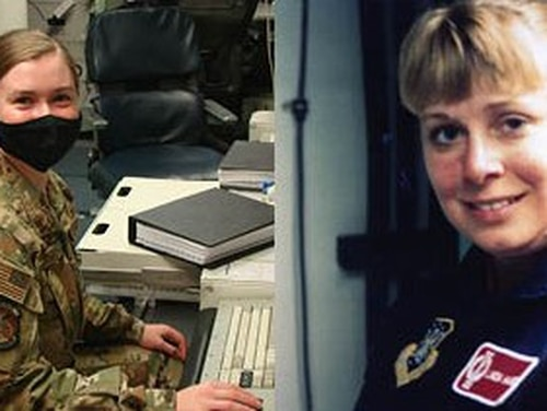 1st Lt. Taylor Tonnies, left, and then-1st Lt. Linda Tonnies, who both served with the 91st Missile Wing at Minot Air Force Base, North Dakota, both took part in ICBM test launches at Vandenberg Air Force Base, California, more than 26 years apart. (Air Force Staff Sgt. Brittany Murphy/Air Force)
