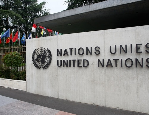 The United Nations emblem is seen in front of the United Nations Office (UNOG) on June 8, 2008, in Geneva, Switzerland .(Johannes Simon/Getty Images)